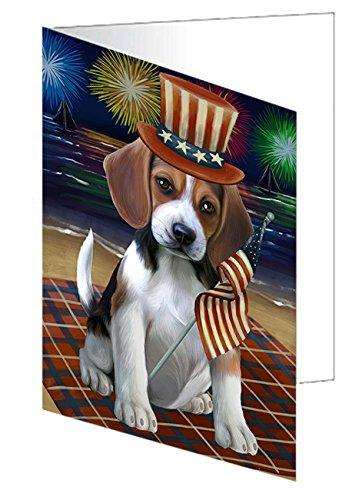 4th of July Independence Day Firework Beagle Dog Greeting Card GCD50195