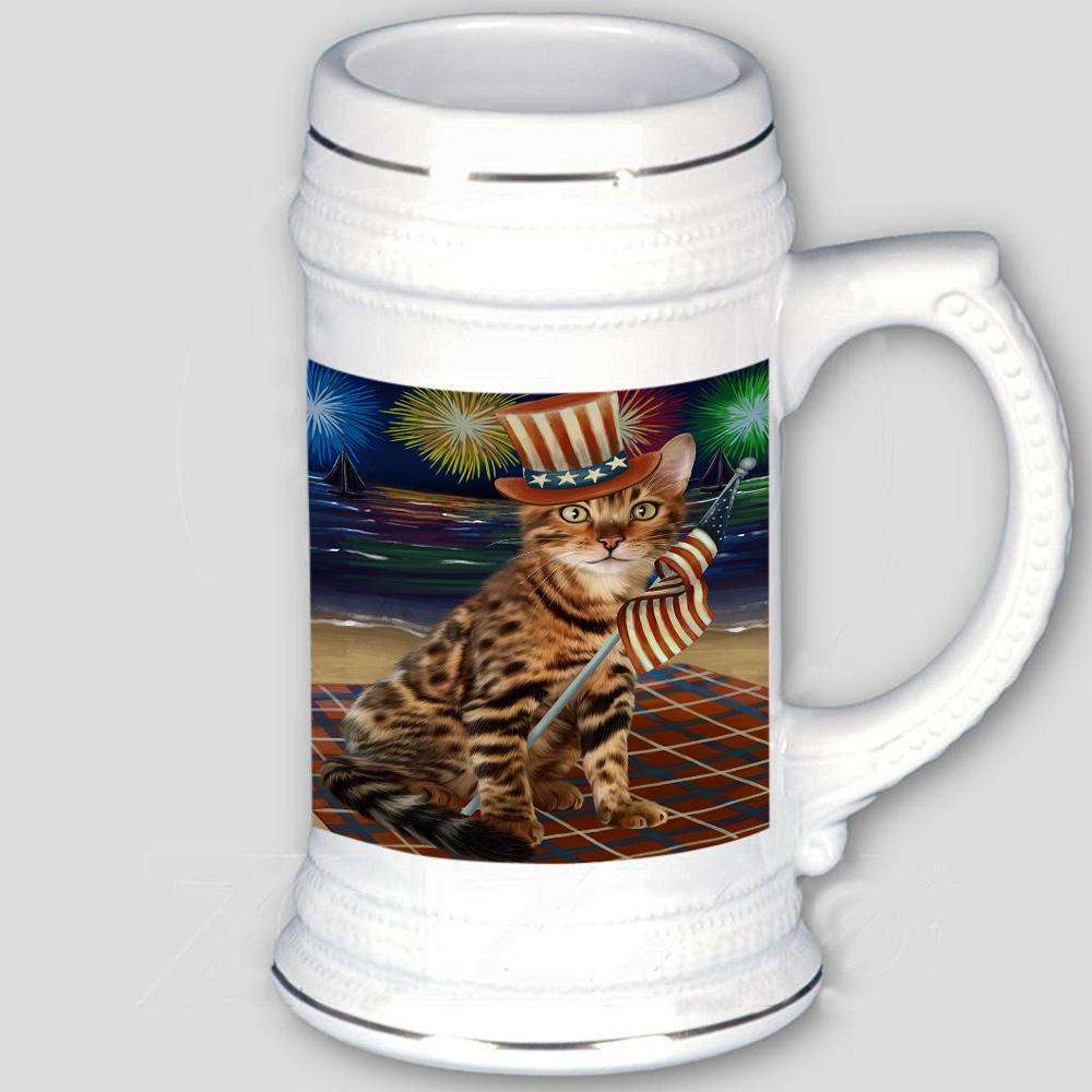 4th of July Independence Day Firework Bengal Cat Beer Stein BST51926