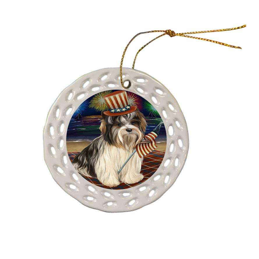 4th of July Independence Day Firework Biewer Terrier Dog Ceramic Doily Ornament DPOR52406