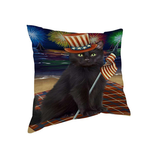 4th of July Independence Day Firework Black Cat Pillow PIL65792