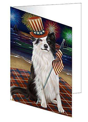 4th of July Independence Day Firework Border Collie Dog Greeting Card GCD50198