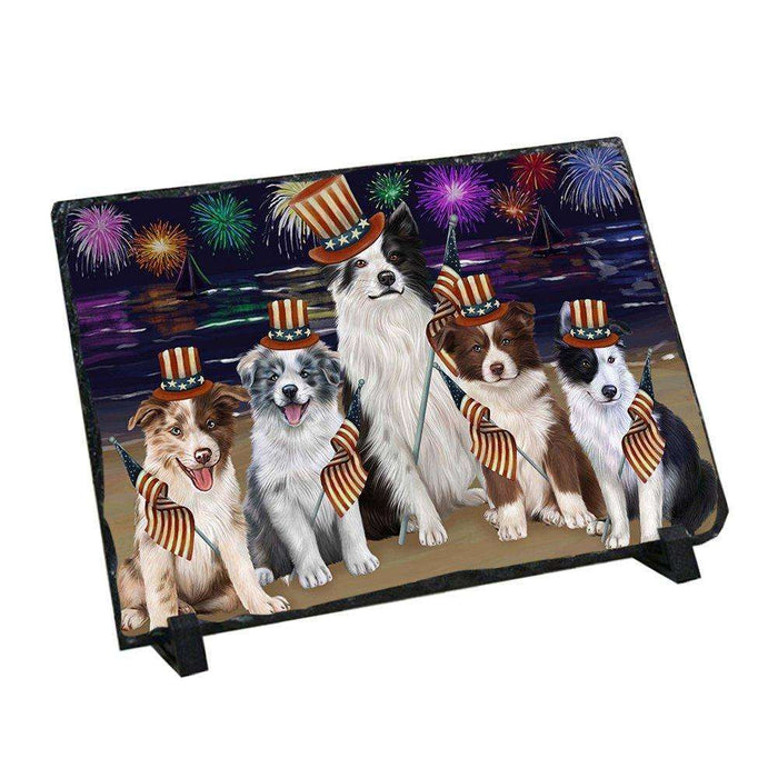 4th of July Independence Day Firework Border Collie Dog Photo Slate SLT48724