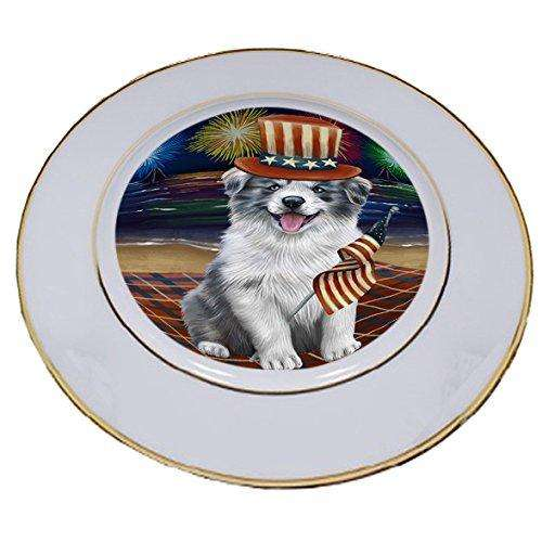4th of July Independence Day Firework Border Collie Dog Porcelain Plate PLT48731