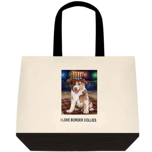 4th of July Independence Day Firework Border Collie Dog Two-Tone Deluxe Classic Cotton Tote Bag TTT48541