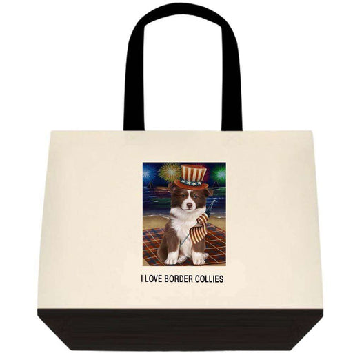 4th of July Independence Day Firework Border Collie Dog Two-Tone Deluxe Classic Cotton Tote Bag TTT48542