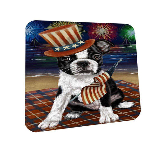 4th of July Independence Day Firework Bosten Terrier Dog Coasters Set of 4 CST48690