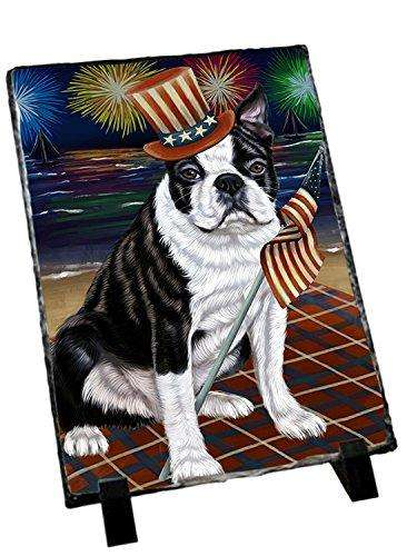 4th of July Independence Day Firework Bosten Terriers Dog Photo Slate SLT48729