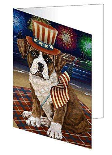 4th of July Independence Day Firework Boxer Dog Greeting Card GCD50234