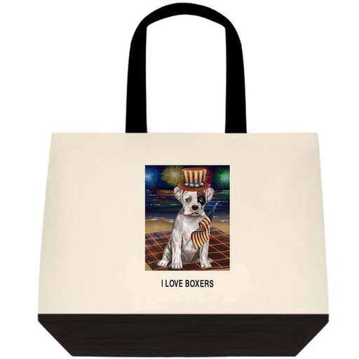 4th of July Independence Day Firework Boxer Dog Two-Tone Deluxe Classic Cotton Tote Bag TTT48550