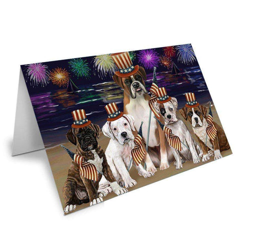 4th of July Independence Day Firework Boxers Dog Greeting Card GCD50240