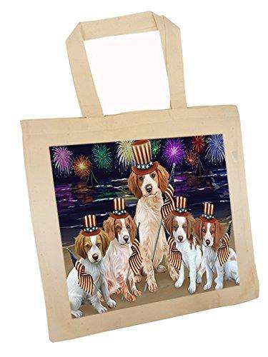 4th of July Independence Day Firework Brittany Spaniels Dog Tote TTE48846