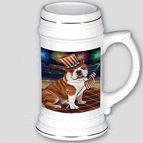 4th of July Independence Day Firework Bulldog Beer Stein BST480715