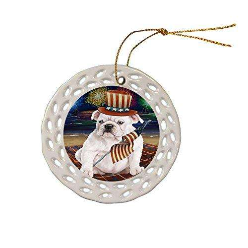 4th of July Independence Day Firework Bulldog Ceramic Doily Ornament DPOR48857