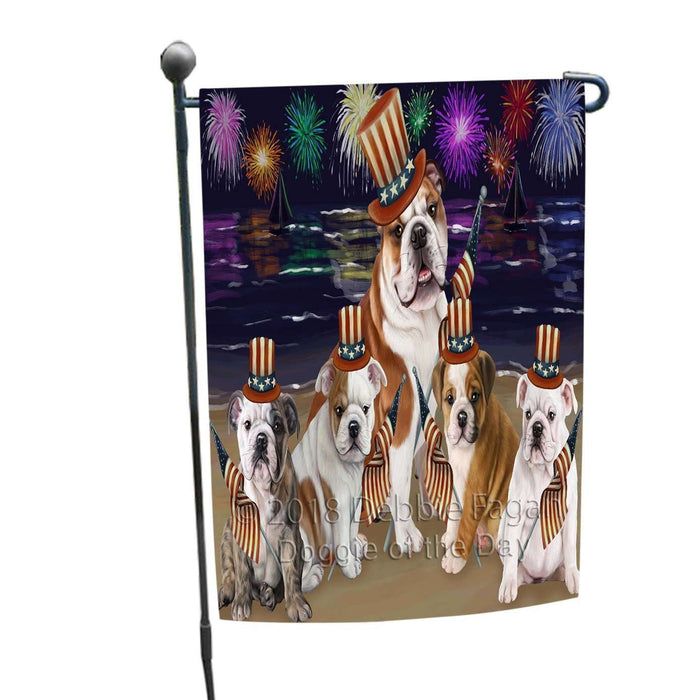4th of July Independence Day Firework Bulldogs Garden Flag GFLG48762