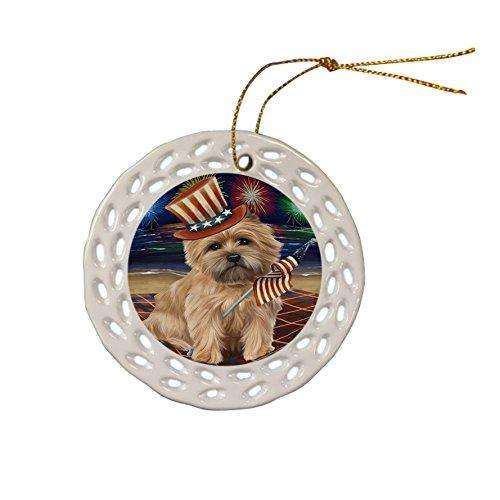 4th of July Independence Day Firework Cairn Terrier Dog Ceramic Doily Ornament DPOR48861
