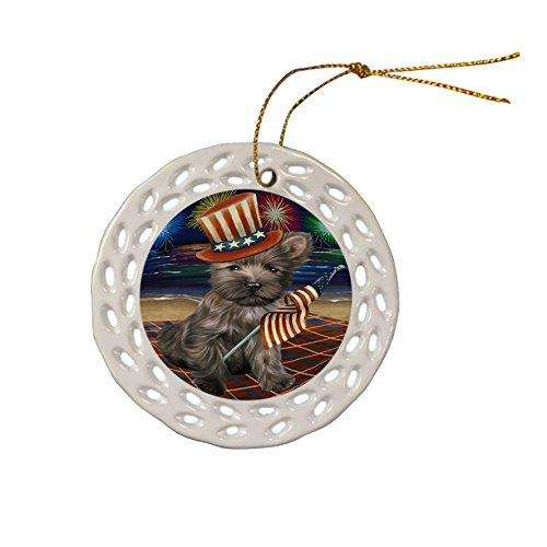 4th of July Independence Day Firework Cairn Terrier Dog Ceramic Doily Ornament DPOR48865