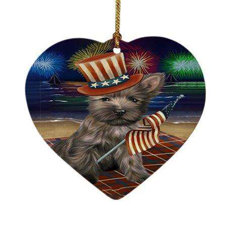 4th of July Independence Day Firework Cairn Terrier Dog Heart Christmas Ornament HPOR48865