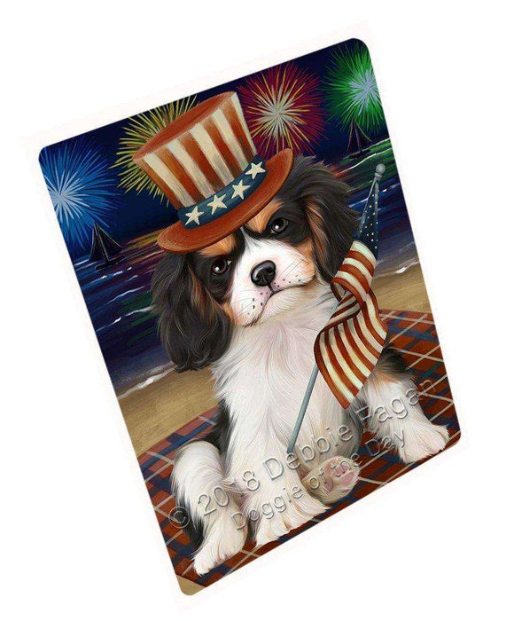 4th of July Independence Day Firework Cavalier King Charles Spaniel Dog Tempered Cutting Board C50475
