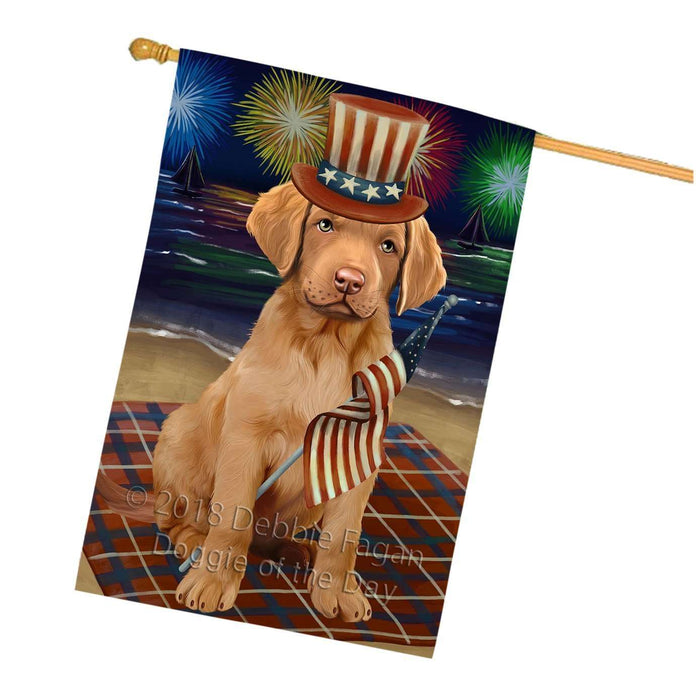 4th of July Independence Day Firework Chesapeake Bay Retriever Dog House Flag FLG48839