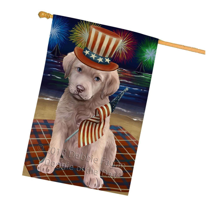 4th of July Independence Day Firework Chesapeake Bay Retriever Dog House Flag FLG48841