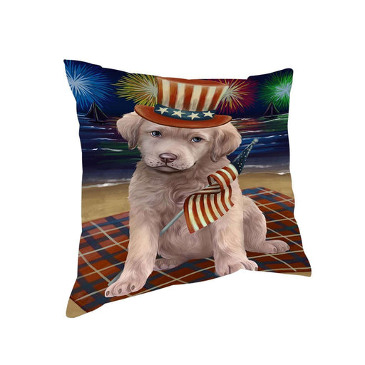 4th of July Independence Day Firework Chesapeake Bay Retriever Dog Pillow PIL51360