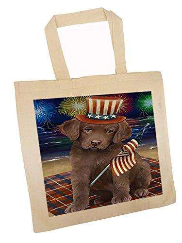 4th of July Independence Day Firework Chesapeake Bay Retriever Dog Tote TTE48875