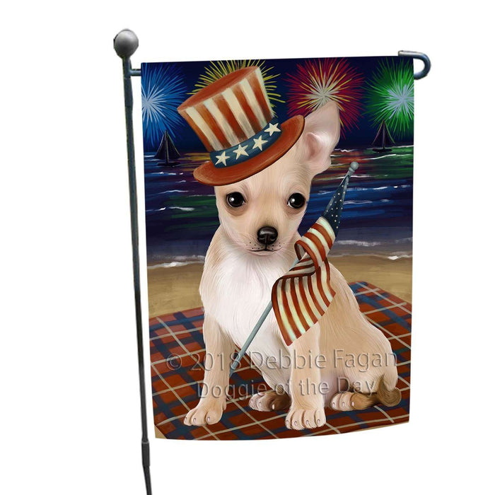 4th of July Independence Day Firework Chihuahua Dog Garden Flag GFLG48790