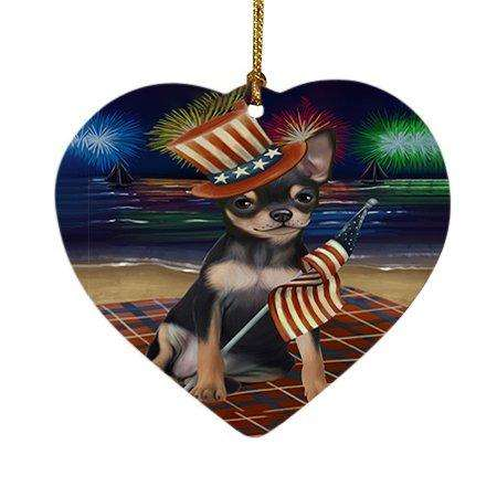 4th of July Independence Day Firework Chihuahua Dog Heart Christmas Ornament HPOR48880