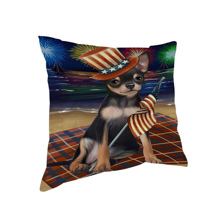 4th of July Independence Day Firework Chihuahua Dog Pillow PIL51376