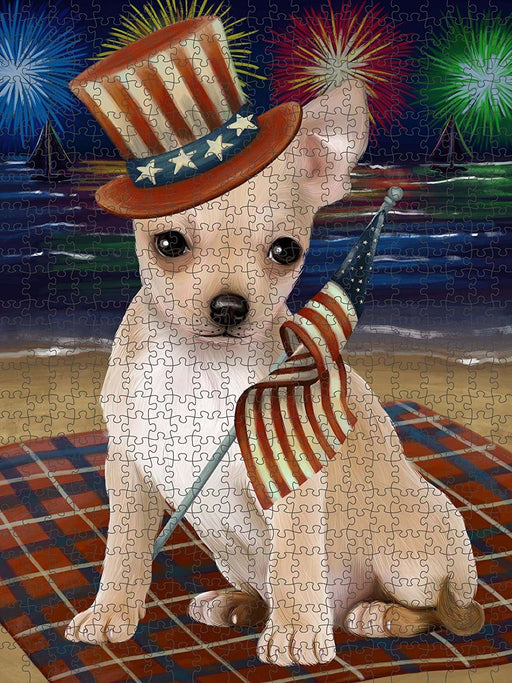4th of July Independence Day Firework Chihuahua Dog Puzzle with Photo Tin PUZL50826