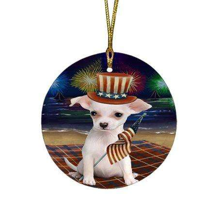 4th of July Independence Day Firework Chihuahua Dog Round Christmas Ornament RFPOR48873