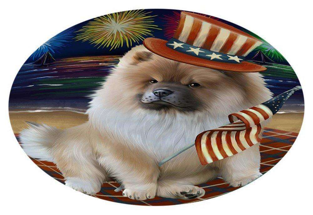 4th of July Independence Day Firework Chow Chow Dog Oval Envelope Seals OVE51540