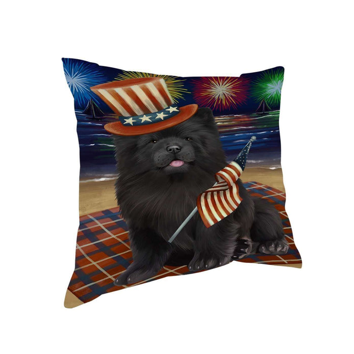 4th of July Independence Day Firework Chow Chow Dog Pillow PIL51404