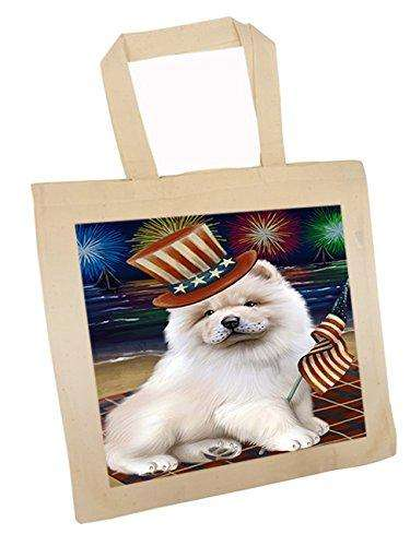4th of July Independence Day Firework Chow Chow Dog Tote TTE48886