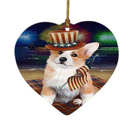 4th of July Independence Day Firework Corgie Dog Heart Christmas Ornament HPOR48894
