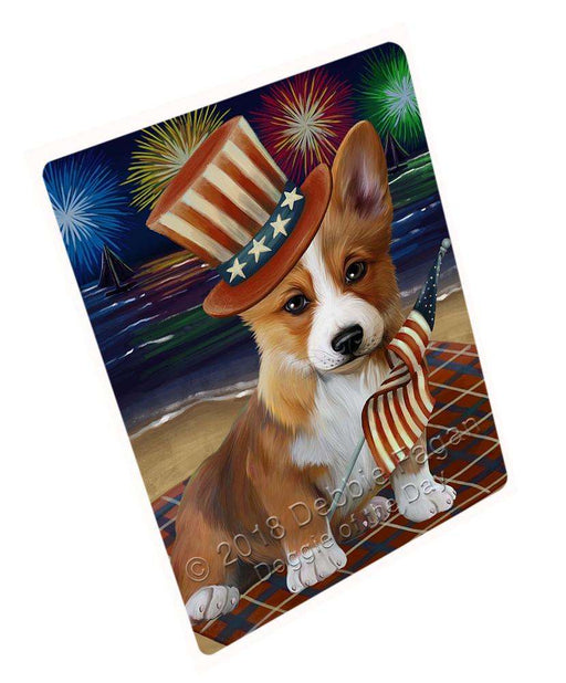 "4th Of July Independence Day Firework Corgie Dog Magnet Small (5.5"" x 4.25"") mag50544"