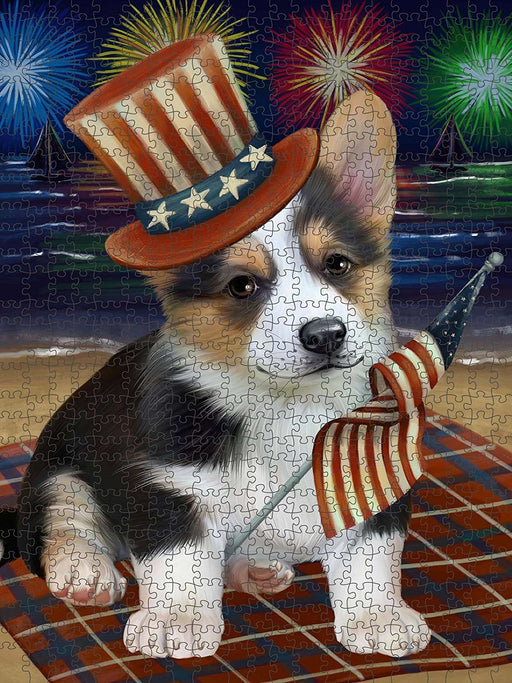 4th of July Independence Day Firework Corgie Dog Puzzle with Photo Tin PUZL50856