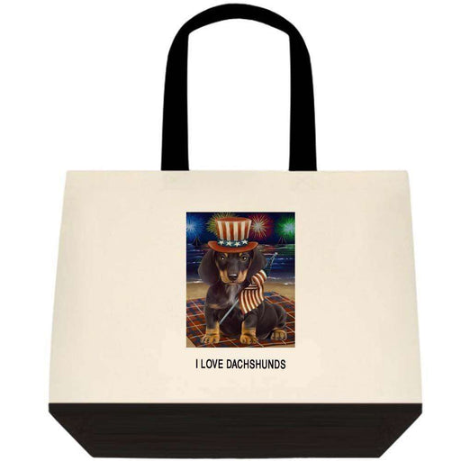 4th of July Independence Day Firework Dachshund Dog Two-Tone Deluxe Classic Cotton Tote Bag TTT48555