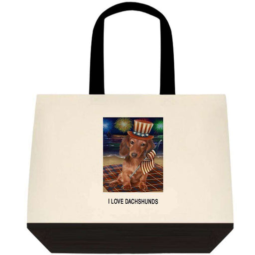 4th of July Independence Day Firework Dachshund Dog Two-Tone Deluxe Classic Cotton Tote Bag TTT48556
