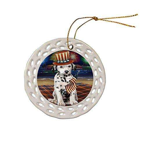 4th of July Independence Day Firework Dalmatian Dog Ceramic Doily Ornament DPOR48897