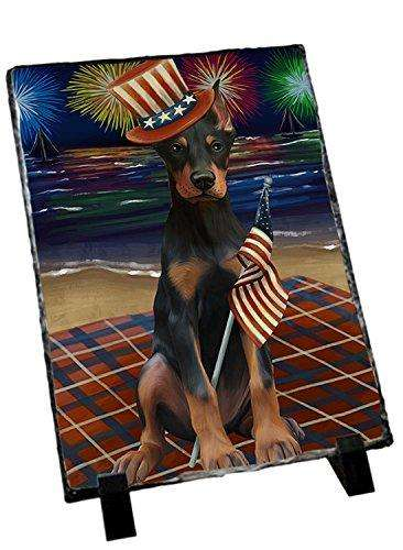 4th of July Independence Day Firework Doberman Pinscher Dog Photo Slate SLT48900