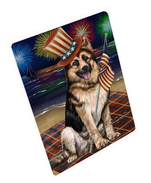 "4th Of July Independence Day Firework German Shepherd Dog Magnet Small (5.5"" x 4.25"") mag50586"