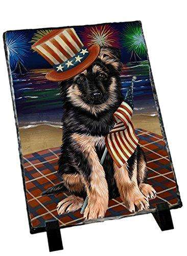 4th of July Independence Day Firework German Shepherd Dog Photo Slate SLT48908