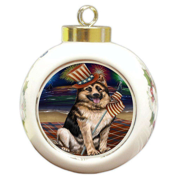 4th of July Independence Day Firework German Shepherd Dog Round Ball Christmas Ornament RBPOR48906