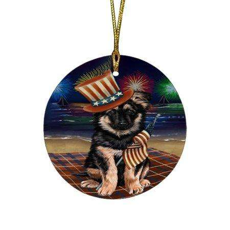 4th Of July Independence Day Firework German Shepherd Dog Round