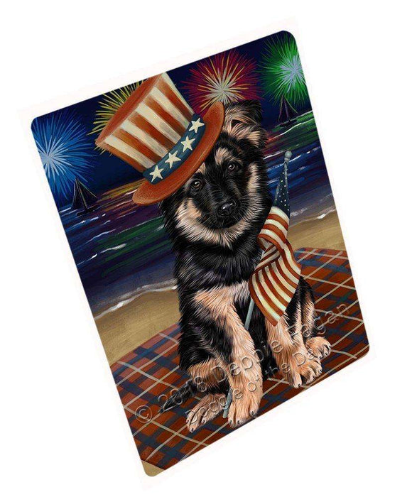 4th of July Independence Day Firework German Shepherd Dog Tempered Cutting Board C50592