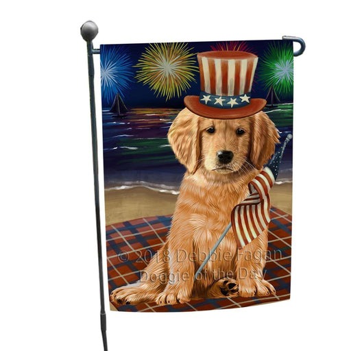 4th of July Independence Day Firework Golden Retriever Dog Garden Flag GFLG48820