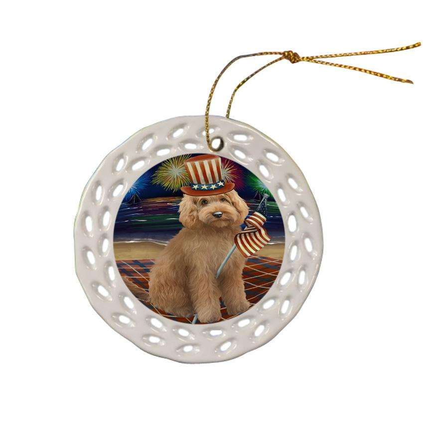 4th of July Independence Day Firework Goldendoodle Dog Ceramic Doily Ornament DPOR52039
