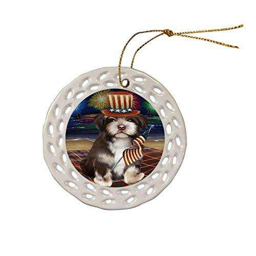 4th of July Independence Day Firework Havanese Dog Ceramic Doily Ornament DPOR48922