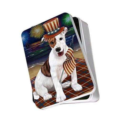 4th of July Independence Day Firework Jack Russell Terrier Dog Photo Storage Tin PITN48925
